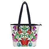 Kalocsai - Bolso de mano de piel con bordado floral húngaro para mujer, con cremallera, para el trabajo, para la compra Tranvel