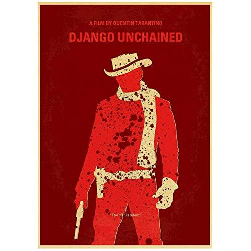 Sanwooden Django Unchained Classic Movie Retro Poster Gemälde für Wohnzimmer Home Decor Geschenk Artwork Dekoration Druck auf Leinwand -50x75cm Kein Rahmen