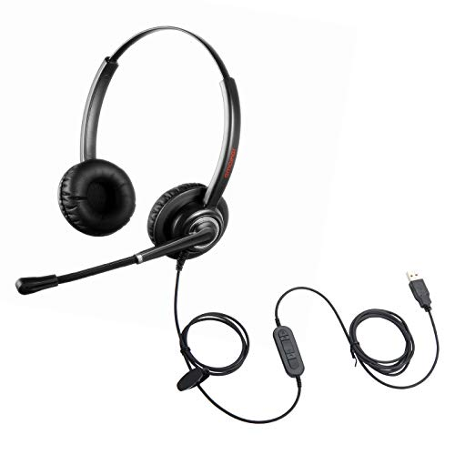 Emaiker USB Microphone Headset Call Center Office Telephone Headphone with Noise Cancelling Microphone for PC Laptops, Work for Teams, Zoom Meeting, Dragon,Speech Dictation,Skype Calls, Jabber, Avaya