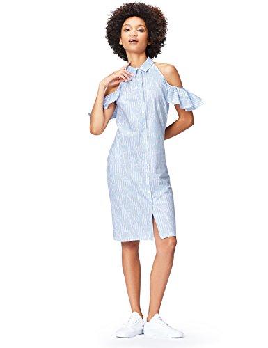Marca Amazon - find. Camisa de Rayas con Hombros al Aire para Mujer, Azul (Blue Stripe), 36, Label: XS
