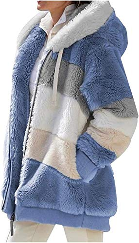Contrasting Lamb Plush Wool Padded Coat, Loose Fit Zipper Closure Hooded Coat, Outerwear Casual Outerwear Tops Open Front Cardigan Jacket Sweater blue 4XL