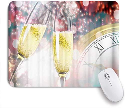 Dekoratives Gaming-Mauspad,Weihnachts Champagner Uhr,Bürocomputer-Mausmatte mit rutschfester Gummibasis