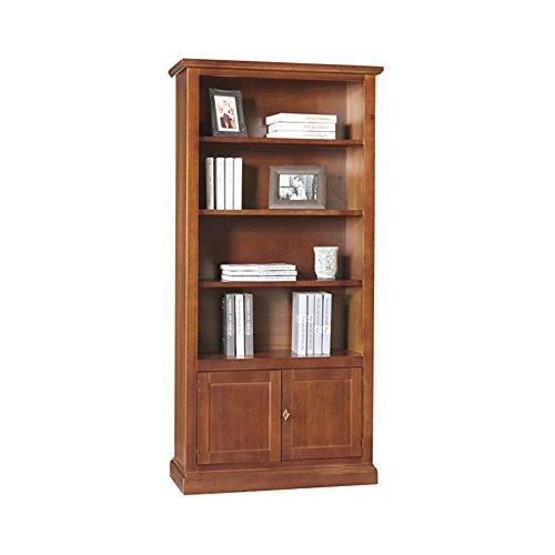 ZeroDueZero - Libreria, Stile Classico, In Legno Massello E Mdf Con Rifinitura In Noce Lucido - Mis. 90 X 41 X 186