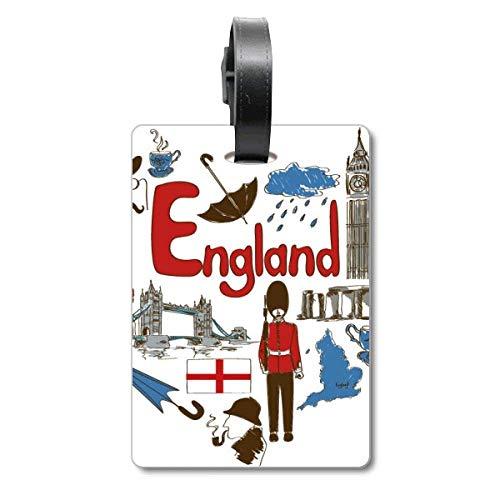 Etiqueta de identificación para Maleta con la Bandera Nacional del Reino Unido con Texto en inglés Love Heart