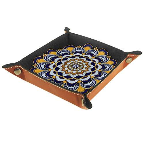AITAI Bandeja de valet de piel vegana para mesita de noche, organizador de escritorio, plato de almacenamiento, estilo bohemio, mandala colorido con flores