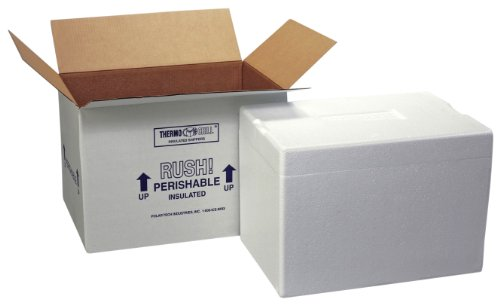 Polar Tech 271C Thermo Chill Insulated Carton with Foam Shipper, Extra Large, 26' Length x 19-3/8' Width x 10-1/2' Depth