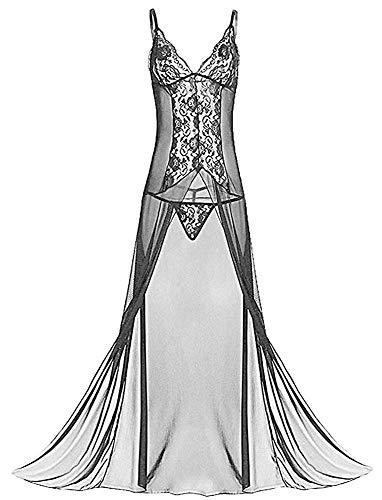 Keven Damen Nachthemd Große Größe Nachtwäsche Lang Nachtkleid mit Bügel (Schwarz, 3XL)