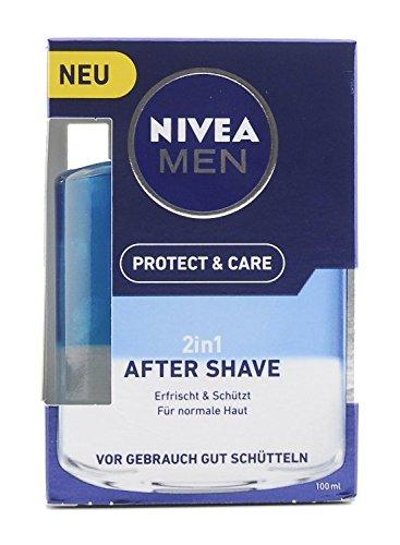 Nivea Men Protect und Care 2-in-1 After Shave im Aftershave pflegt die Haut nach der Rasur, beruhigende und erfischende Gesichtspflege, 100 ml