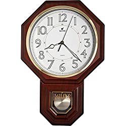 JUSTIME Traditional Schoolhouse Pendulum Luminous Wall Clock Chimes Hourly with Westminster Melody Made in Taiwan, 4AA Batteries Included (PP0258-L Dark Wood Grain)