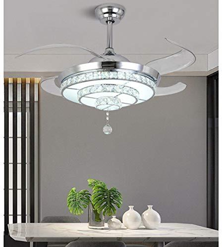 Luz de cristal de lujo ligero LED 42 pulgadas 36W Tres tonos Luz de salón Sala de estar Comedor Habitación Dormitorio Dormitorio Dormitorio Ventilador de techo Luz Moderna Minimalista Lámpara de araña