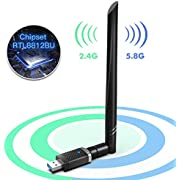EDUP WiFi Adapter for Gaming 1300Mbps, USB 3.0 Wireless Adapter Dual Band 5GHz 802.11 AC WiFi Dongle 5dBi Antenna Support Desktop Laptop Windows XP/Vista/7/8/10 Mac, USB Flash Driver Included