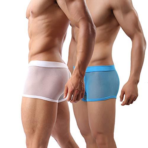 Laxier 2er-Pack Herren Boxer Shorts Weiche Unterhosen Durchsichtige Boxershorts Sexy Unterwäsche Trunk für Männer (BU/WT, XXL)