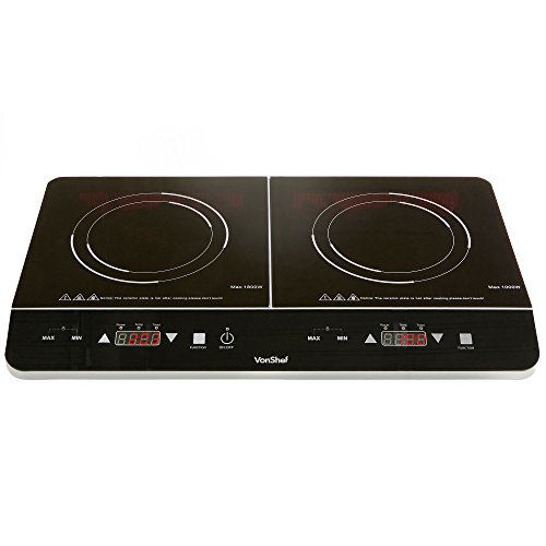VonShef Twin Induction Hob - Portable Ceramic Tabletop Electric Cooking Hob with 180 Minute Timer & LED Display Panel - 2800W