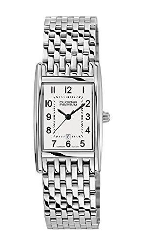 Dugena Damen Quarz-Armbanduhr, Saphirglas, Edelstahl-Armband, Edelstahlgehäuse, Quadra Artdeco, Silber, 7000120