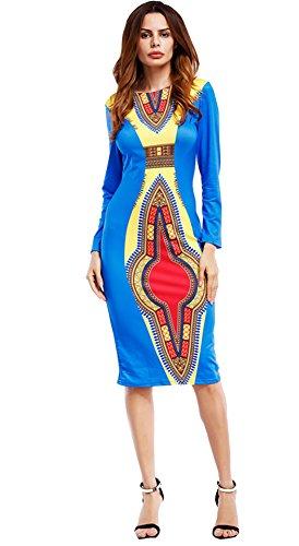 GladThink Mujer Africano Cultural Vestir Verano Largo Mangas Rodilla Longitud Falda S