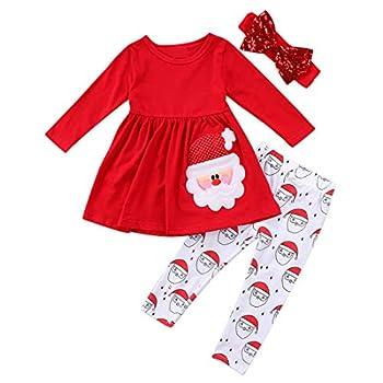 Christmas Party Clothing Set Toddler Baby Girls Princess Dress Tshirt + Santa Pant + Headband 3pcs Outfits  Red 2T