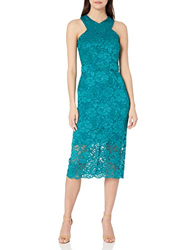 Sam Edelman Women's Sleeveless Criss Cross Lace Neck Sheath Dress, Teal, 12