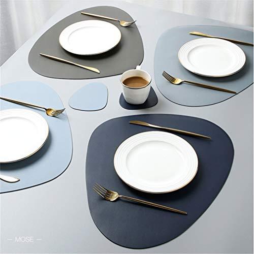 Lindong Abwaschbar Tischset/Platzset 4er Set Premium Pu-Leder Hochwertig Wasserdicht Rutschfest Schmutzabweisend Platzmatte Tischunterlagen 45x36.5cm