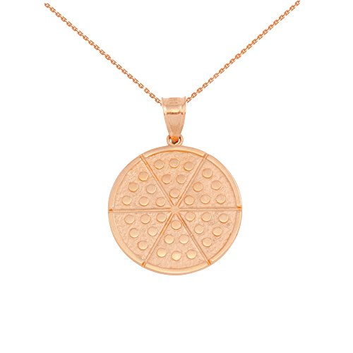 14 ct Rose Gold Six Slice Pizza Circle Pendant Necklace (Comes with an 18' Chain)
