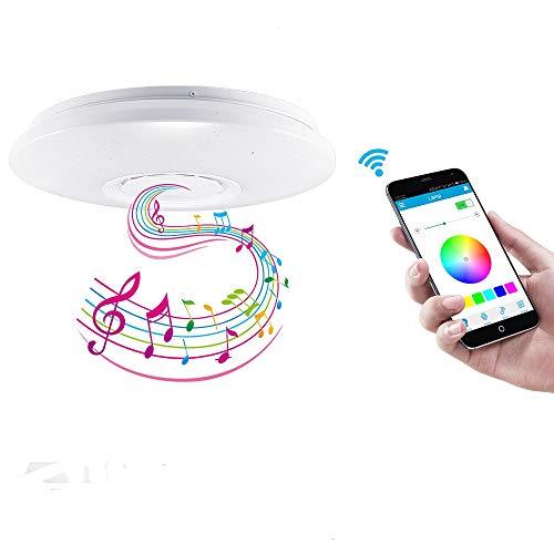 Bluetooth Musik Deckenleuchte, FORNORM 60W 36CM RGBW Schlafzimmer Deckenleuchte Lautsprecher Dimmbar mit Fernbedienung, Timer & Memory Funktion, Smartphone APP, 3000K-6500K, 185-265V
