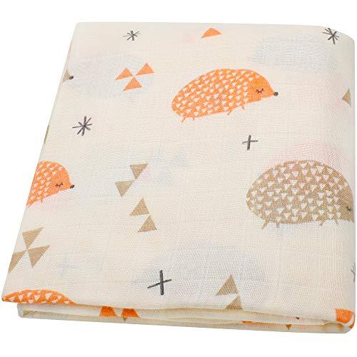 "Lebze Bebé Muselina Swaddle Manta,\""Diseño de Erizo\"" Bambú Algodon Muselinas 120x120 cm Mantitas para Bebes"