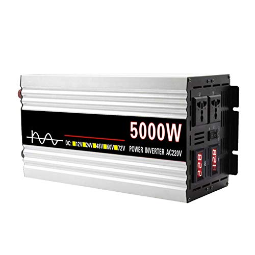 FDQNDXF Inversor de Onda Sinusoidal Pura 5000W / 6000W / 8000w DC 12V / 24V / 48V / 60V a AC 220V Convertidor de Voltaje para Automóvil Inversor de Corriente con Salidas de CA Dobles para Caravana
