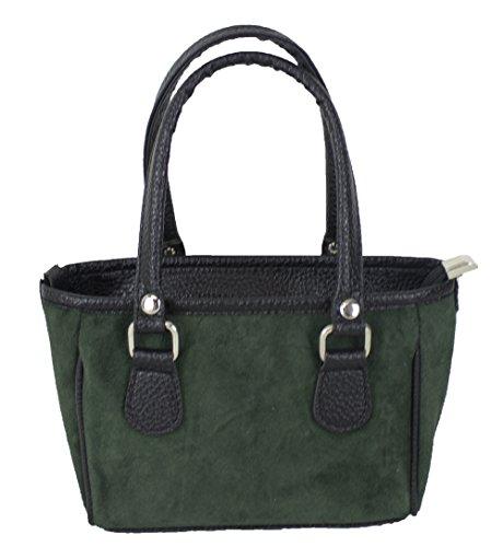 Domelo Damen kleine Trachtentasche grün Handtasche Oktoberfest Dirndltasche Damentasche Umhängetasche Schultertasche Wildledertasche Mädchentasche Henkeltasche Ledertasche Crossbody Tracht Retro