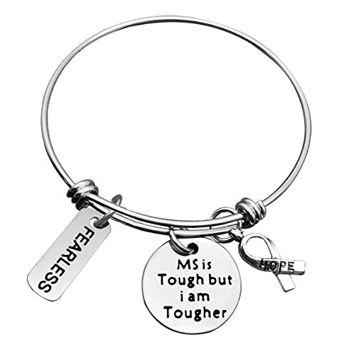MS Awareness Bracelet Gift MS Survivor GiftMS is Tough but I am Tougher Cancer Awareness Gifts Cancer Survivor Jewelry Cancer Inspirational GiftsCancer Fighter GiftMS Survivor Bracelet for Her