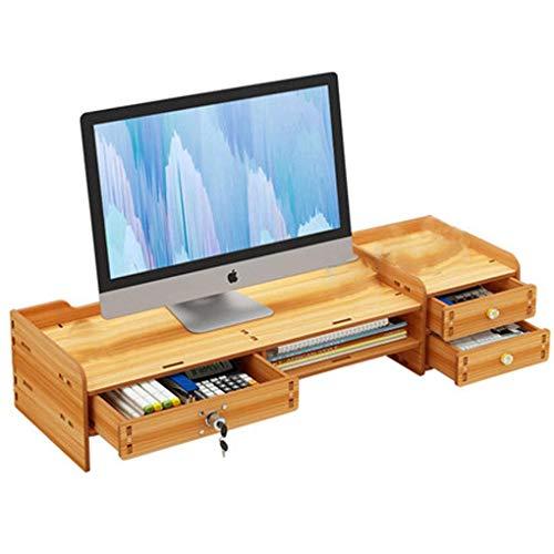 モニタースタンド ノートパソコンスタンドモニター台 机上台 木製 卓上 机上收? パソコンスタンド引き出し付き デスクトップシェルフ 人間工学デザイン大容量 卓上収納 片付け HANBUN