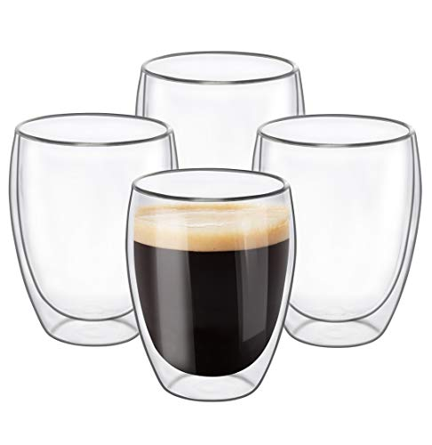 Glass Coffee Mugs 12 OZ - Set of 4, Double Wall Insulated Thermal Cups Drinking Glasses For Tea/ Coffee/ Latte/ Cappucino/ Cafe/ Milk, Clear