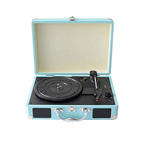 ZOUSHUAIDEDIAN Reproductor de grabación, reproductor de récord de maleta portátil Bluetooth de 3 velocidades con altavoces incorporados  El sonido de audio giratorio, se puede utilizar para el entrete