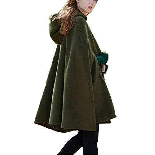 Elegante Frauen Herbst Winter Umhang mit Kapuze Loose Cape Kurz Poncho Warme Trenchcoat Wolle Mantel Jacke Gotisch Outwear (Grün, XL)