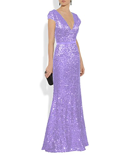 YSMei Women's Long Sequins Bridesmaid Dress Long Cap Sleeves Prom Wedding Gowns Plunge V Neck Lavender 8