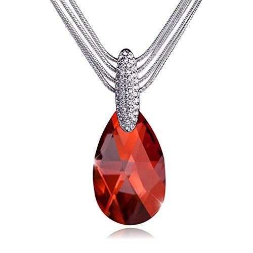 T400 Joyeros Swarovski Elements Collar Colgante de lágrima de Cristal para Mujer, 43cm Granate