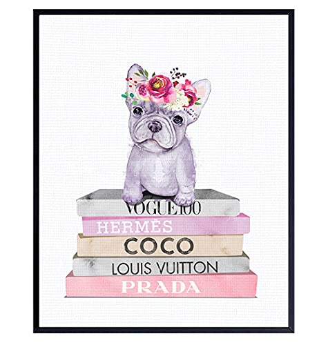 French Bulldog Decor - French Bulldog Gifts - Dog Wall Art - Coco, Prada, LV Wall Decor - Dog Wall Decor - Glam Wall Art - Dog Lover Gifts - Fashion Design - Pink Designer Wall Art - Puppy Wall Decor