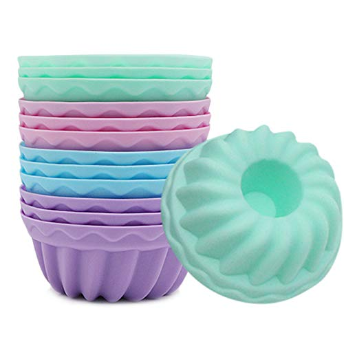Mopoin Gugelhupfform Silikon, 12 Stück Mini Gugelhupf Backform Silikon Backform Kuchenform Set Wiederverwendbare Mini Muffins Backform Cupcake Formen für DIY Backen, 4 Farben