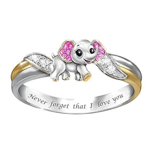 SHOBDW Anillo Mujer Elefante Plata Anillo Ring El Tono De Plata Corazón Heart Alianzas Boda Amor Mujer Regalo Promiso Anillo Anillo De Compromiso(C,7)