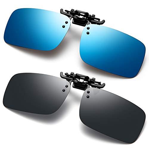 Polarized Flip Up Clip-on Sunglasses Anti-Glare UV 400 Protection Fishing Driving Sunglasses Clip on Prescription Glasses (Blue + Black)