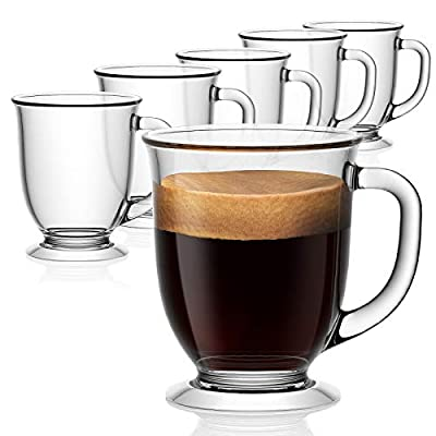 Glass Coffee Mugs Set of 6, Vivimee Clear Coffee Mug 15 Oz, Large Glass Mugs With Handles for Hot Beverages, Clear Mugs for Tea, Cappuccino, Latte, Expresso Coffee, Juice, Glass Coffee Cups