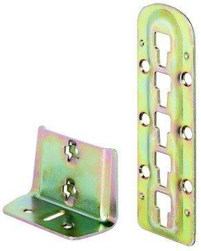 Bettverbinder für Mittelbalken- und Lattenrostauflage Bettbeschläge Bettwinkel Höhe einstellbar Höhe: 140 mm, gelb chromatiert