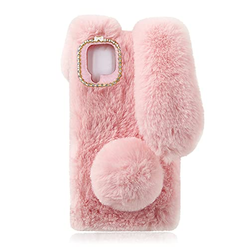 Fluffy Fur Plush Case for Samsung Galaxy A42 5G Cute Bunny Furry Girly Cover 3D Animal Fuzzy Protective Case Faux Rabbit Cony Hair Kawaii Kid Toy Fun Women Phone Shell for Samsung A42 5G Pink