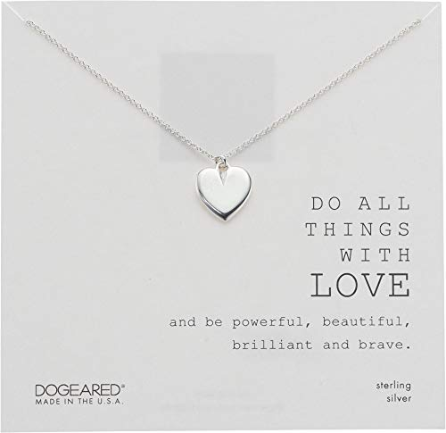 Dogeared Do All Things with Love, Large Heart Necklace Sterling Silver One Size