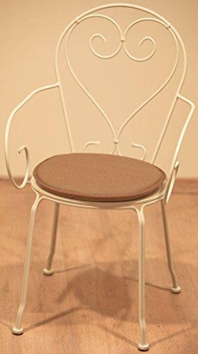 Générique Dessus Chaise Ronde Les 2 Taupe Traitement Special Exterieur Resistant AU UV Anti Tache DEPERLANT Jardin Exterieur BISTROT Galette