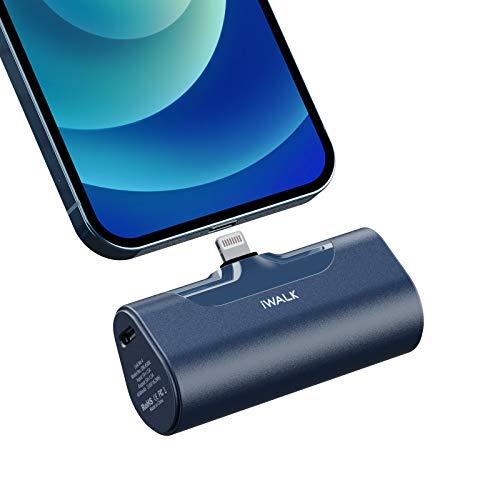 iWALK Mini Cargador Portátil, Banco de Energía Ultra Compacto de 4500 mAh, Batería Externa Pequeña y Linda Compatible con iPhone 11 Pro/XS MAX/XR/X / 8/7/6 / Plus y Más (Azul)