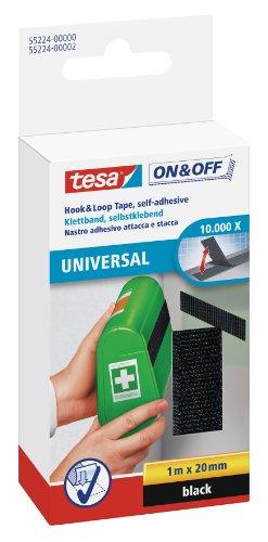 tesa On & Off Klettband (zum Aufkleben, Selbstklebendes Klettklebeband zur Befestigung leichter Gegenstände, 1 m x 20 mm) schwarz