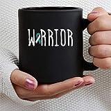 Warrior Awareness - Taza de café personalizada para el cáncer de cuello uterino, 11 oz, Awareness, color verde azulado, cinta blanca, cáncer, taza de cerámica negra, taza para bebidas, té, para el hog