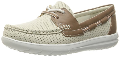 Clarks Women's Jocolin Vista Boat Shoe, Off White Perforated Textile, 8.5 B(M) US