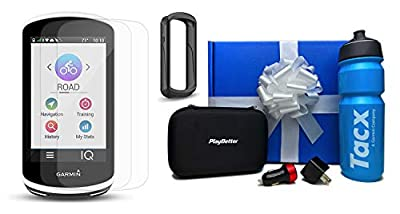 Garmin Edge 1030 Cycle Bundle   with PlayBetter Silicone Protective Skin & HD Glass Screen Protector   Bike Mounts & USB Cable   GPS Bike Computer, Navigation