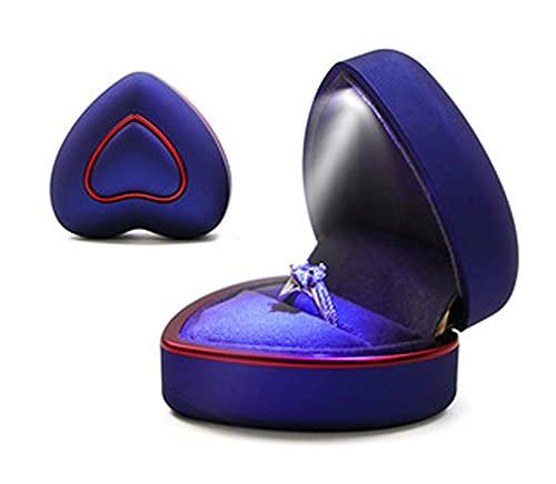 RXSHOUSH Caja de joyería para mujeres y niñas, organizador de almacenamiento pequeño de viaje, collar, colgante, caja de joyería Love LED Light Container azul-ring