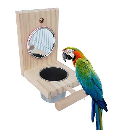 Waza Houten standaard met spiegel en voederdispenser voor papegaaien, vogelvoer voor golfstoken, cacadus, Canarische kegels